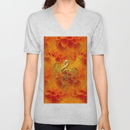Clef with flowers Unisex V-Neck