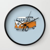 vw Wall Clocks featuring VW Campervan by Lara Trimming