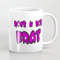 rock n roll Mugs featuring Rock-N-Roll Brat  by Los Espada Art