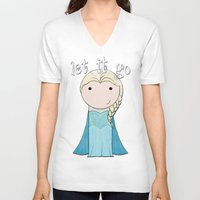frozen elsa V-neck T-shirts featuring Elsa: Frozen  by Jen Talley