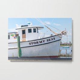 Stormy Seas - Fishing Vessel Metal Print