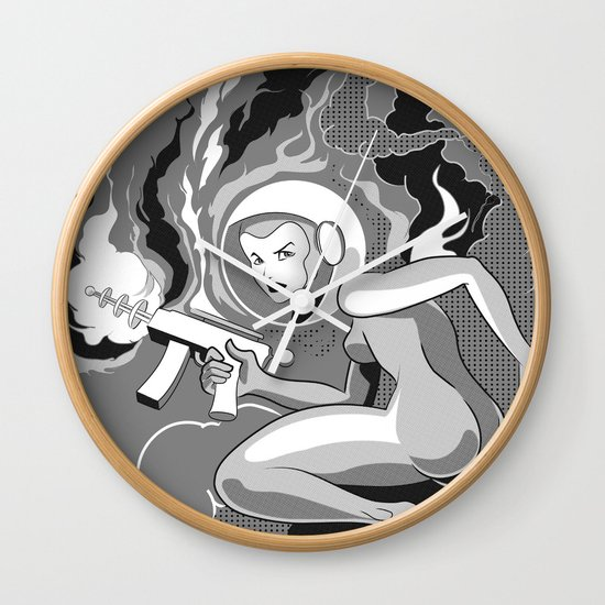 Space Girl with a Gun Wall Clock