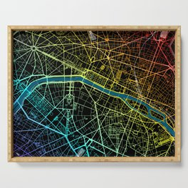 Colourful Road Map of Paris, France Serving Tray