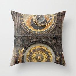The Prague Astronomical Clock photo Throw Pillow