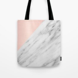 Real Carrara Italian Marble and Pink Tote Bag