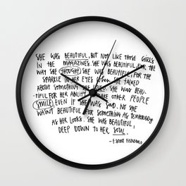 She was beautiful quotes Wall Clock