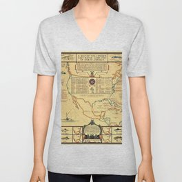 Illustrated Map of Well Known Salt Water Game Fish of North America Unisex V-Neck