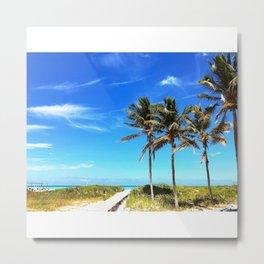 Palm Trees Caribbean Ocean Metal Print