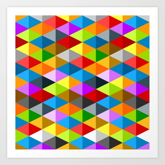 Modern bright funky colorful triangles pattern Art Print