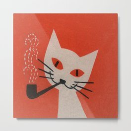 Retro White Cat Smoking a Pipe Metal Print