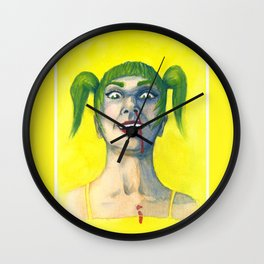 Crazy Girl in Yellow Wall Clock
