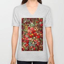 Vintage Boho Flowers Bouquet Unisex V-Neck