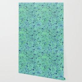 Turquoise Splatter Paint Design Wallpaper