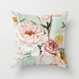 Blue Oval Peonies & Poppies Throw Pillow