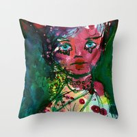 moulin rouge Throw Pillows featuring Rouge by Jane Carlisle