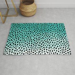 Ombre Dalmatian Spots (aqua blue/black) Rug