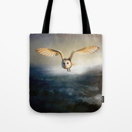 An owl flies over the lake Tote Bag