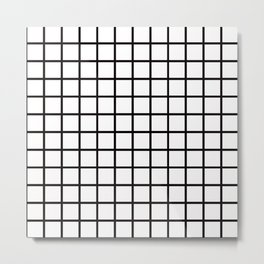 Simply Minimalistic Grid Line Pattern-Black & White- Mix & Match with Simplicity of Life Metal Print