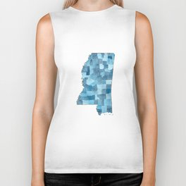 Mississippi Counties Blueprint watercolor map Biker Tank