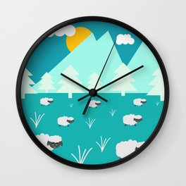 Grazing sheep Wall Clock