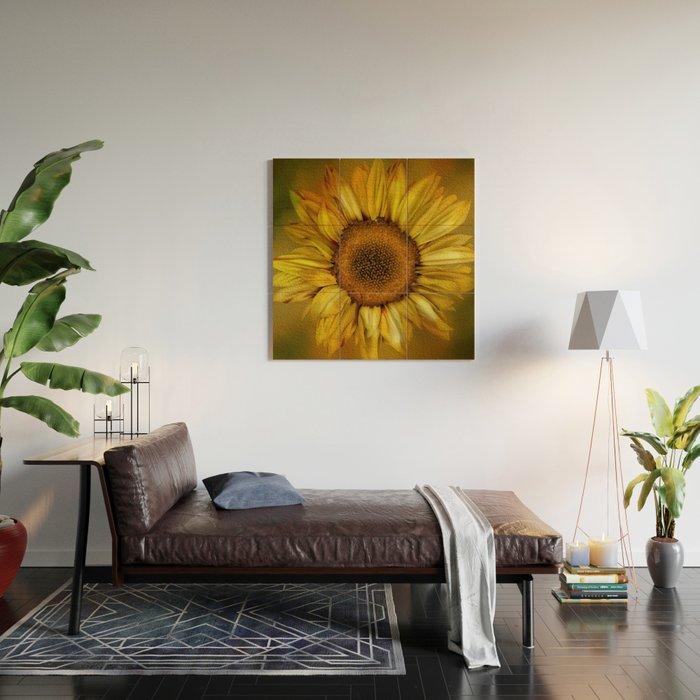 Sunflower - Vintage Wood Wall Art