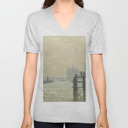 The Thames below Westminster by Claude Monet Unisex V-Neck