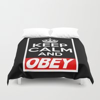 obey Duvet Covers featuring Keep Calm and Obey by BomDesignz