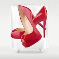 heels Shower Curtains featuring Red Heels by Luxe Glam Decor