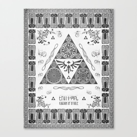 Legend of Zelda Kingdom of Hyrule Crest Letterpress Vector Art Canvas Print