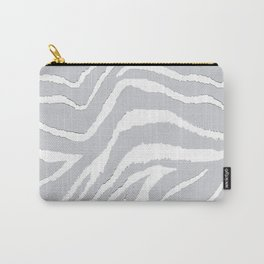 ZEBRA GRAY AND WHITE ANIMAL PRINT Carry-All Pouch