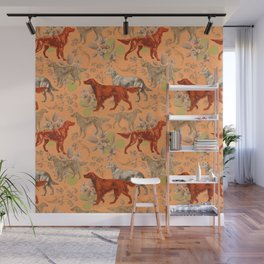 Irish Red Setter Dogs Pattern Wall Mural