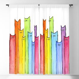 Rainbow of Cats Funny Whimsical Animals Blackout Curtain