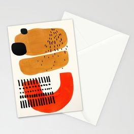 Mid Century Modern Abstract Minimalist Retro Vintage Style Fun Playful Ochre Yellow Ochre Orange Sha Stationery Cards