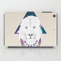 the lion king iPad Cases featuring King Lion by Katell Desormeaux