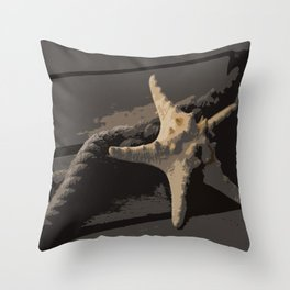 Starfish and boat rope on the pier - dark background - #Society6 - #buyart Throw Pillow