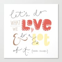 marc jacobs Canvas Prints featuring marc jacobs quote by Mandie Kuo