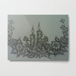 Flowers and Candles Metal Print