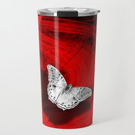 Silver butterfly emerging from the red depths Travel Mug