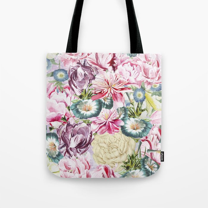 Vintage & Shabby chic -  Retro Spring Flower Pattern  Tote Bag