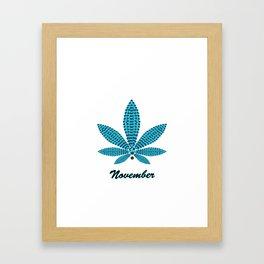 Birthstoned Leaf of Month, November Blue Topaz Framed Art Print