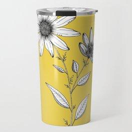 Wildflower line drawing | Botanical Art Travel Mug
