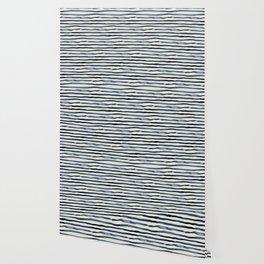 Simply Shibori Stripes Indigo Blue on Lunar Gray Wallpaper