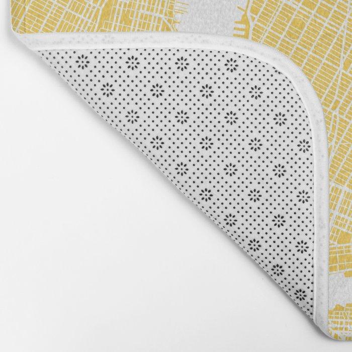 Manhattan map yellow Bath Mat
