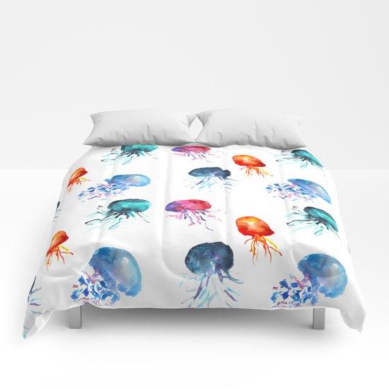 happy jellyfish Comforters