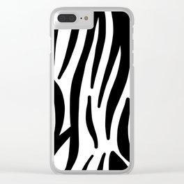 abstract modern safari animal black and white zebra print Clear iPhone Case