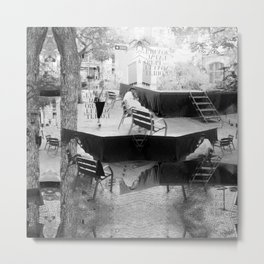 Summer space, smelting selves, simmer shimmers. [extra, 10, grayscale version] Metal Print