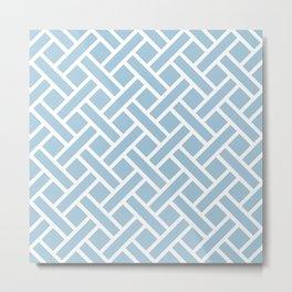 Geometric Trellis Weave Pattern 128 Pale Blue Metal Print