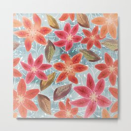 Cute Lilies and Leaves Metal Print