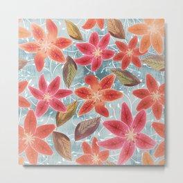 Cute Lilies and Leaves Metal Print