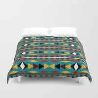 navajo Duvet Covers featuring Navajo Teal Pattern Art by Christina Rollo